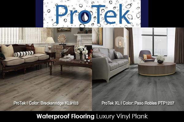 ProTek luxury vinyl plank. Enjoy the convenience of waterproof flooring. Breckenridge KL9103 and Paso Robles PTP1207